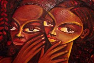 """Detalhe de """"Mulheres Rongas"""" de Ernesto Tembe - Museu Nacional de Arte, Maputo"""